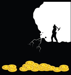 Mining bitcoin icon with man silhouette vector