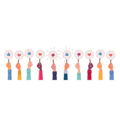 multi ethnic hands vote hearts and likes feedback vector image