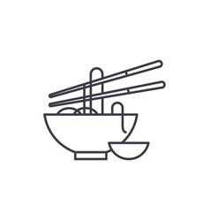 noodles line icon concept noodles linear vector image