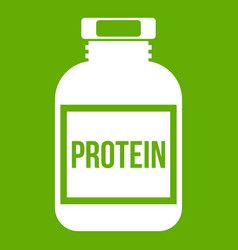 Nutritional supplement for athletes icon green vector