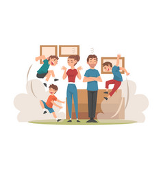 parents meditating while his mischievous sons vector image