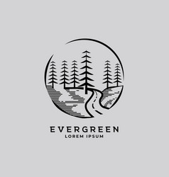 pines tree forest and road way vintage logo design vector image