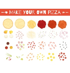 Pizza Elements Cartoon Style Set vector