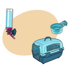 plastic pet travel transport carrier feeding vector image