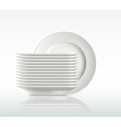 Porcelain plates on a white background vector