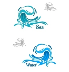 Powerful blue ocean wave icons vector image