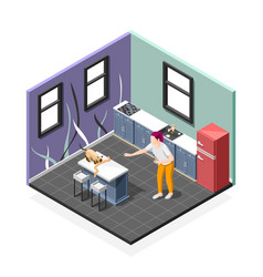 pranks of cat isometric composition vector image