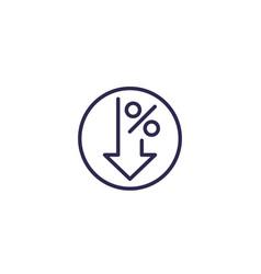 Profit decrease icon line vector