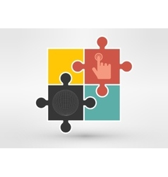 Puzzle with sphere for design on vector image
