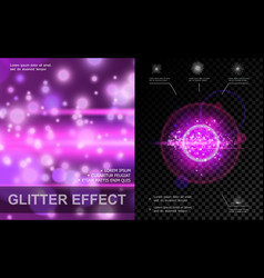 realistic light effects purple template vector image