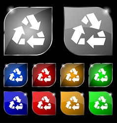 Recycle icon sign Set of ten colorful buttons with vector