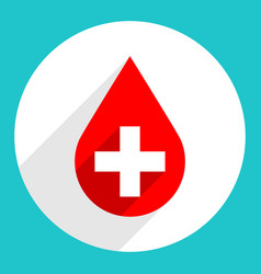 Red drop icon first aid donate blood sign vector