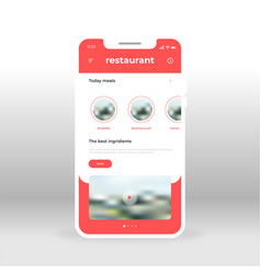 red restaurant meals ui ux gui screen for mobile vector image