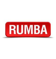 Rumba red 3d square button isolated on white vector image