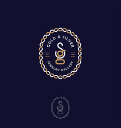 S g letters monogram gold silver chain vector