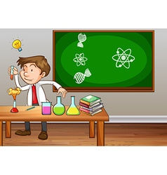 Science teacher experimenting in classroom vector