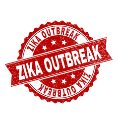 Scratched textured zika outbreak stamp seal vector