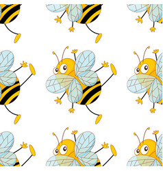 Seamless pattern tile cartoon with bees vector