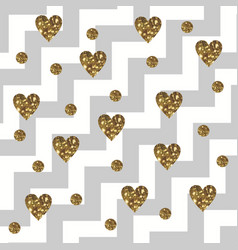 Sparkly glam golden hearts on a diagonal zigzag vector
