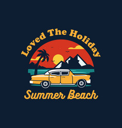 Summer car design with colorful beach elements vector