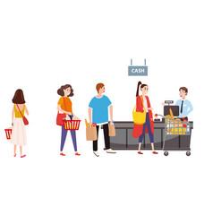 supermarket or store cash desk and cashier men vector image