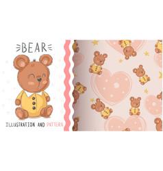 teddy cute bear - seamless pattern vector image