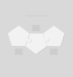 Three pieces puzzle jigsaw pentagon info graphic vector