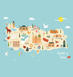 turkey map with famous landmarks icons vector image