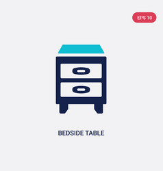 two color bedside table icon from furniture vector image