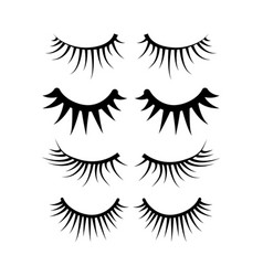 Two eyes eyelash extensions set vector
