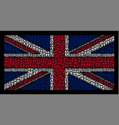 United kingdom flag mosaic of fire torch items vector