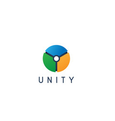 unity shape connecting cercle logo design vector image