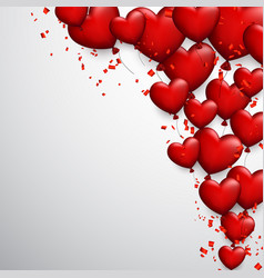 valentine s background with hearts and confetti vector image