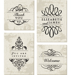 Vintage business cards vector