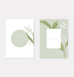 wedding invitation cards with floral design set vector image
