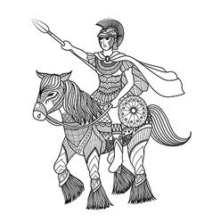 Zentangle stylized of knight vector image