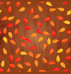 autumn leaves on wooden plank background vector image vector image