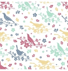 Birds and twigs seamless pattern vector image