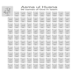 icons with 99 names of god in islam vector image