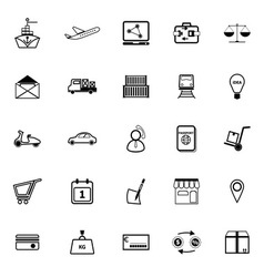 International business line icons on white vector image