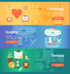 medical and health banners set heart treatment vector image