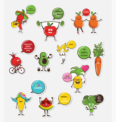 set of funny fruit and vegetable icons cartoon vector image vector image