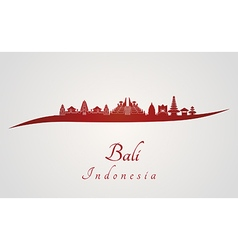 Bali skyline in red vector image