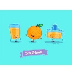 funny cartoon Funny glass orange and vector image