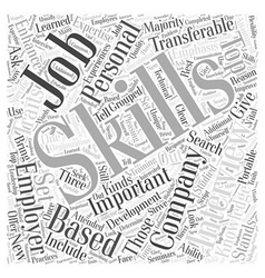 JH skills emphasis job interview Word Cloud vector image