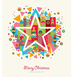Merry Christmas abstract colorful retro star vector image vector image