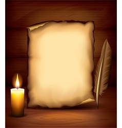 candle paper dark background vector image vector image