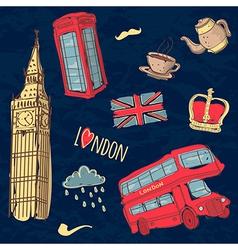 colorful set of hand-drawn London symbols vector image