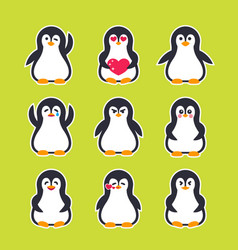 Emojis stickers with pinguin character vector