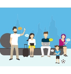 Group of people using electronics devices vector image vector image